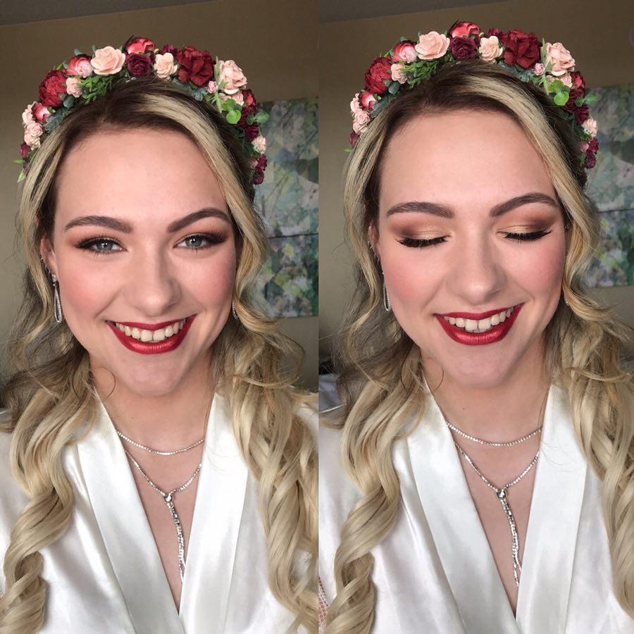 redlip bridal makeup mme