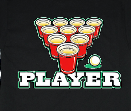Beer Pong Player T-shirt Transfers 12pc