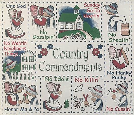 Country Commandments T-shirt Transfers 12pc