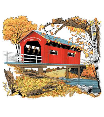 Vermont Covered Bridge T-shirt Transfers 12pc