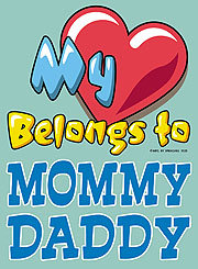 My Heart Belongs To Mommy Daddy T-shirt Transfers 12pc