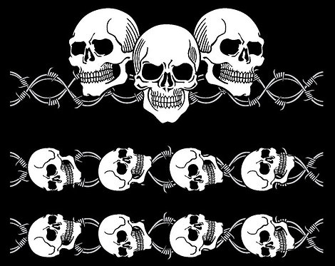 Skulls with Sleeves Biker T-shirt Transfers 12pc