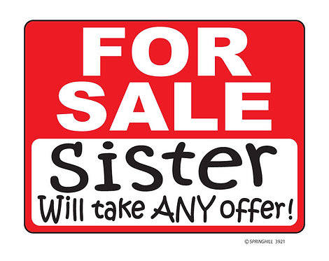 Sister for Sale T-shirt Transfers 12pc