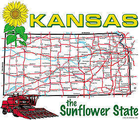 Kansas State Map T-shirt Transfers 12pc