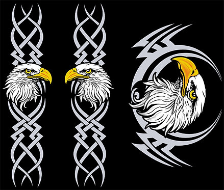 Eagle with Sleeves Biker T-shirt Transfers 12pc