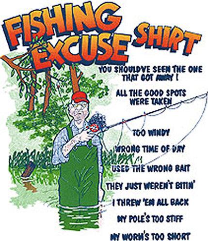 Fishing Excuses T-shirt Transfers 12pc