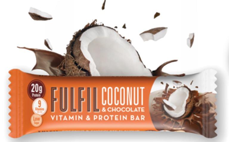 Kókuszos fehérjeszelet vitaminokkal csokoládé-bevonattal édesítőszerekkel