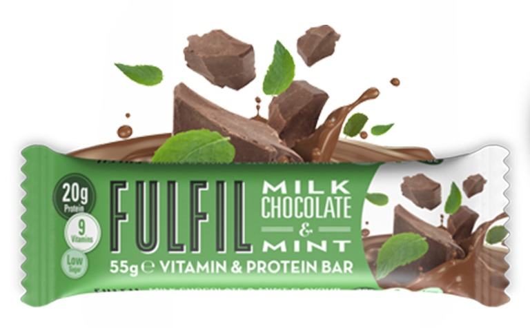 Csokoládés-mentás fehérjeszelet vitaminokkal csokoládé-bevonattal édesítőszerekkel