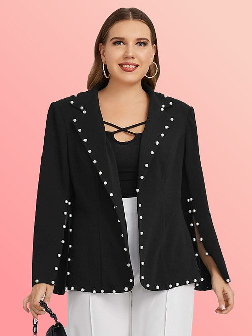 Notched Collar Pearl Blazer