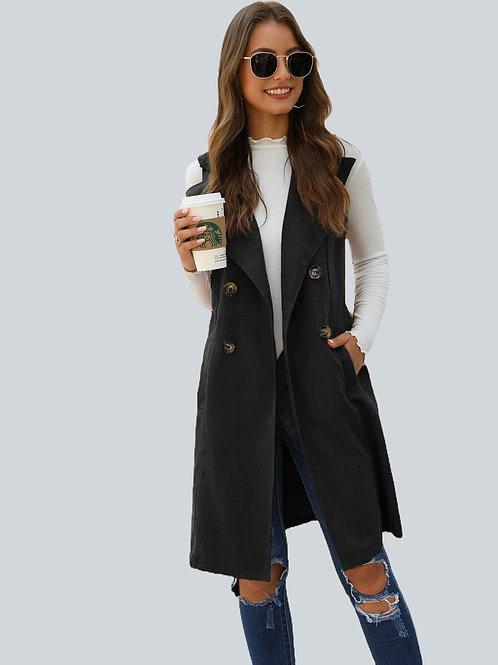 Double Breasted Button Up Vest Coat