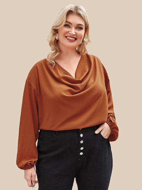 Brown Long Sleeve Blouse