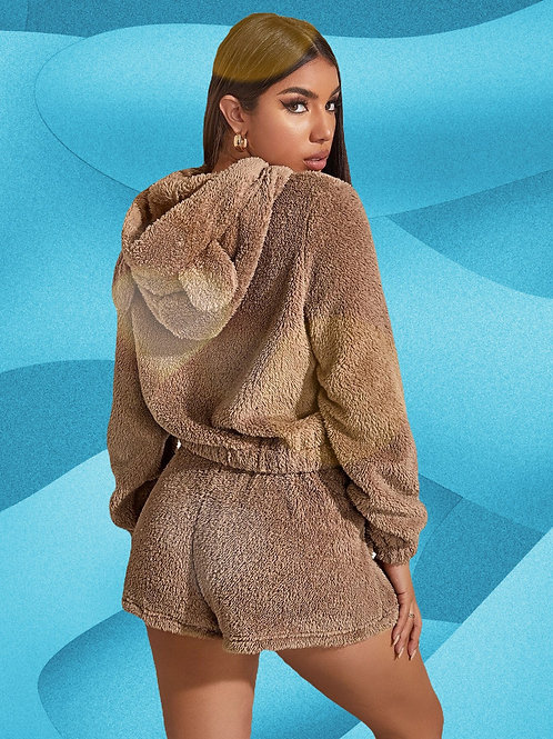 Hooded Teddy Set Sweater+Shorts