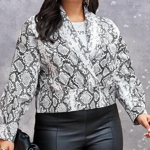 Snakeskin PU Leather Jacket