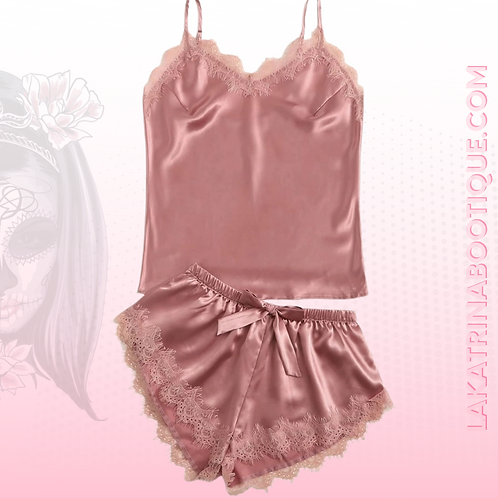 Pink Satin and Lace Night Set