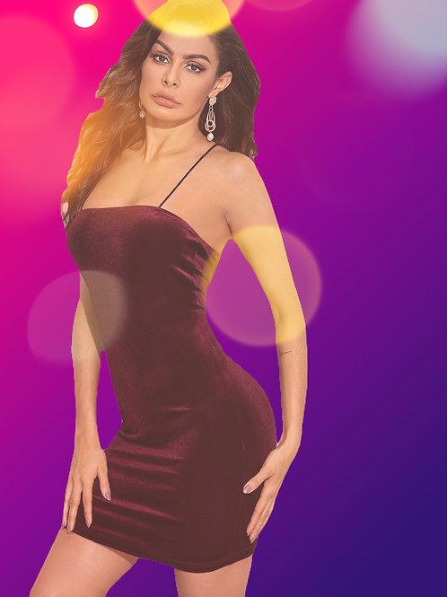 Lace Up Open Back Velvet Dress