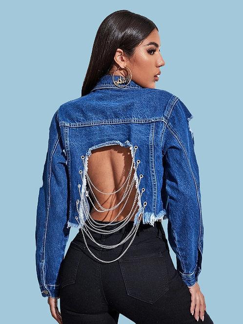 Open Back Crop Top Jean Jacket