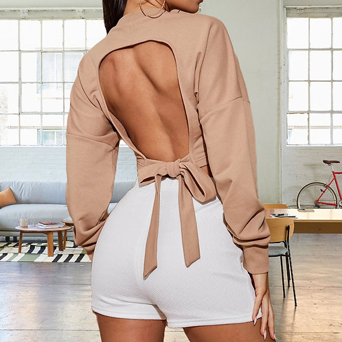 Open Back Pullover Blouse