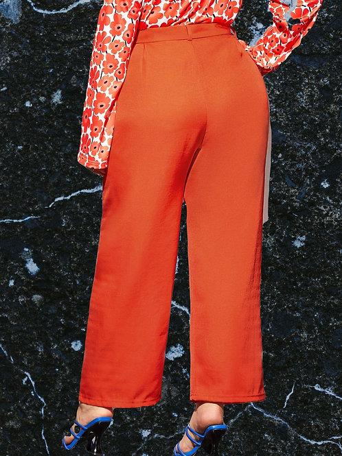 Neon Orange Belted Pants