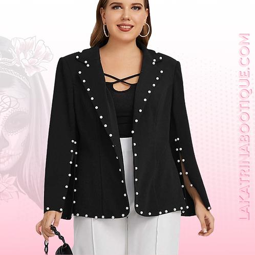 Notched Collar Pearl Blazer