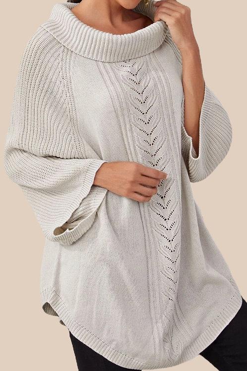 Raglan Sleeve Curved Hem Sweater