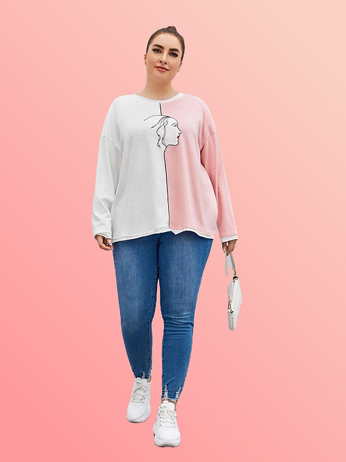 Color Block Graphic Long Sleeve