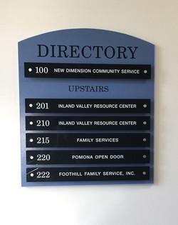 lobby directory blue heading