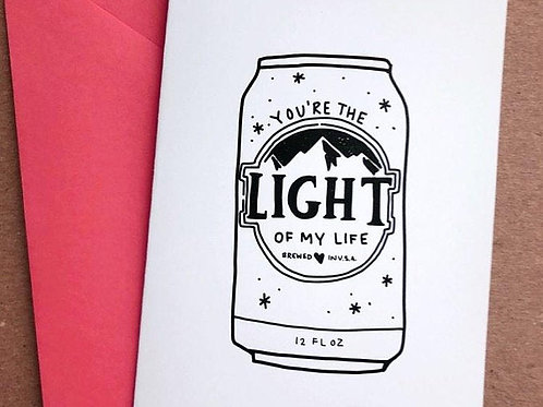 Valentine's Day You're the Light of my Life Card by Carly Thomas Design