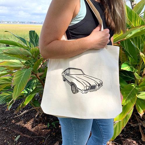 Car Print Canvas Tote Bag by Kēlūsh