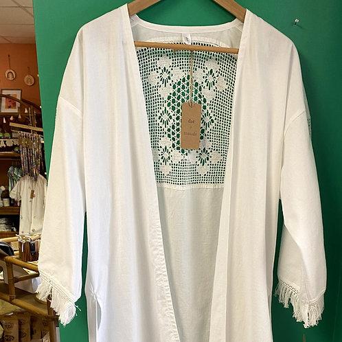 White Vintage Table Cloth Kimono by Dot + Maude