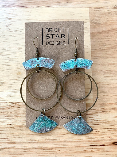 Multi-layered Patina Dangle Earrings by Bright Star Designs
