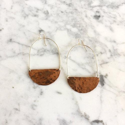 Half-Moon Copper Earrings by Indigo Bee Co.