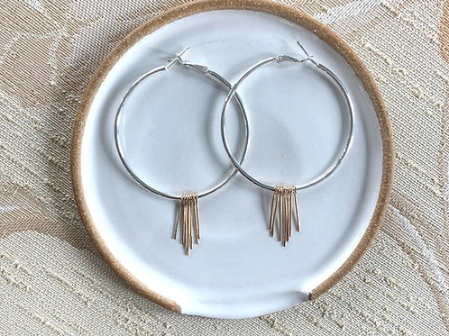 Silver and Gold Tassel Earrings by Dot + Maude