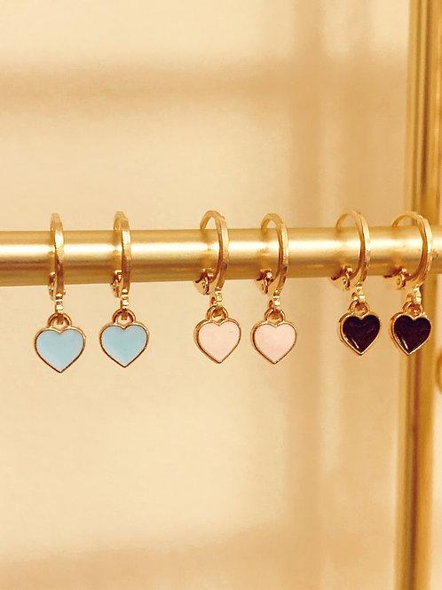 Pink Heart Huggie Earrings  by Julia Grace Jewelry