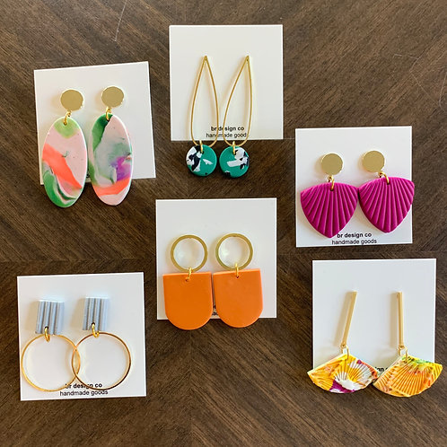 Color Pop Clay Earring Collection by BR Design Co.