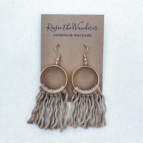 Tan Circle Macrame Earrings by Rosie The Wanderer