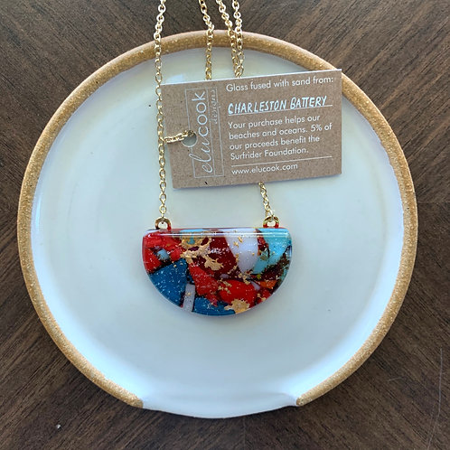 Charleston Battery Half-Moon Glass Necklace by eluCook Designs