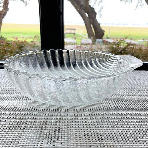Vintage Glass Shell Serving Bowl