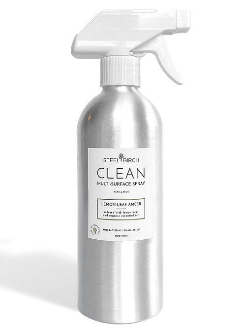 CLEAN Multi-Surface Spray Lemon Leaf + Amber by Steel Birch
