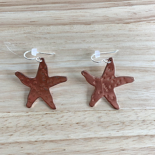 Starfish Hammered Copper Earrings  by ConFusion Jewelry