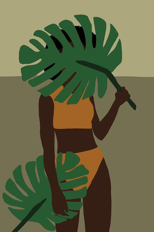 Palm Fronds Femme Sticker by Lady Doodles Co.