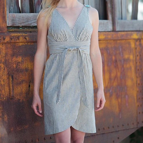 Railroad Stripe V-Neck Dress by Maude Couture