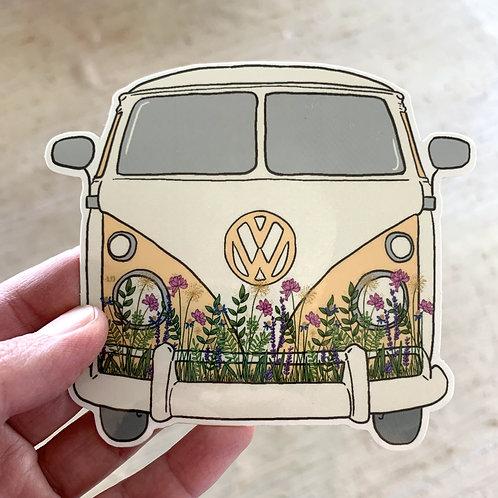 VW Flower Bus Sticker by Lady Doodles Co.