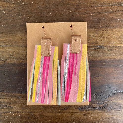 Leather and Copper Painted Fringe Earrings by Penelope Design Studio