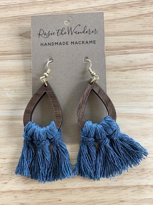 Macrame and Wood Teardrop Earrings by Rosie the Wanderer