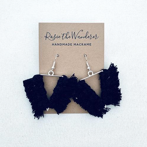 Black Triangular Macrame Earrings by Rosie The Wanderer