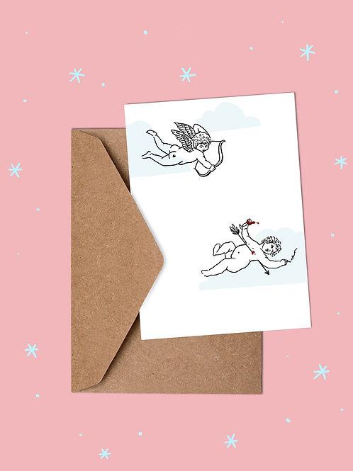 Valentine's Day Cherub Cupid Card by Carly Thomas Design