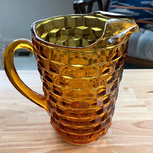 Vintage Amber Glass Water Pitcher