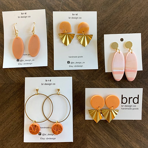 Just Peachy Clay Earring Collection by BR Design Co.
