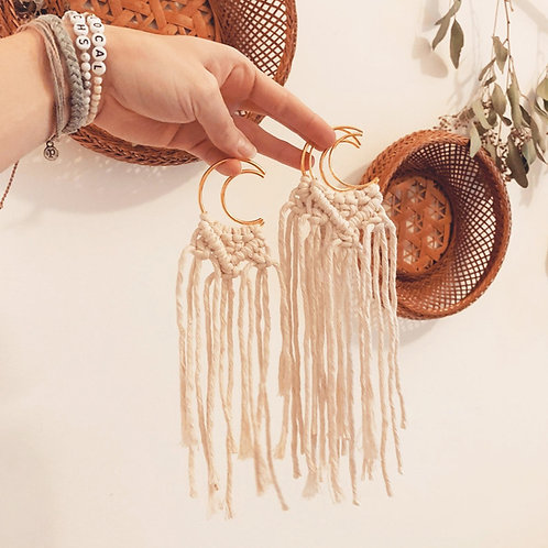 Mini Macrame Moon Wall Hanging by Rosie the Wanderer