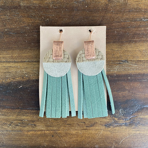 Leather and Copper Fringe Layer Earrings by Penelope Design Studio